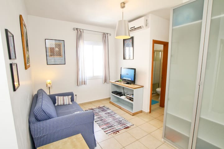 Livingroom: sofa-bed, cable TV, air conditioning, wifi, mobile phone, wardrobe,