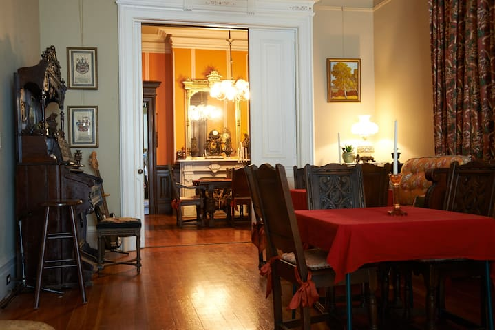 The parlor into the dining room.