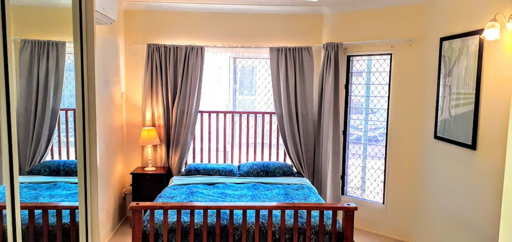 Main bedroom, linens included.