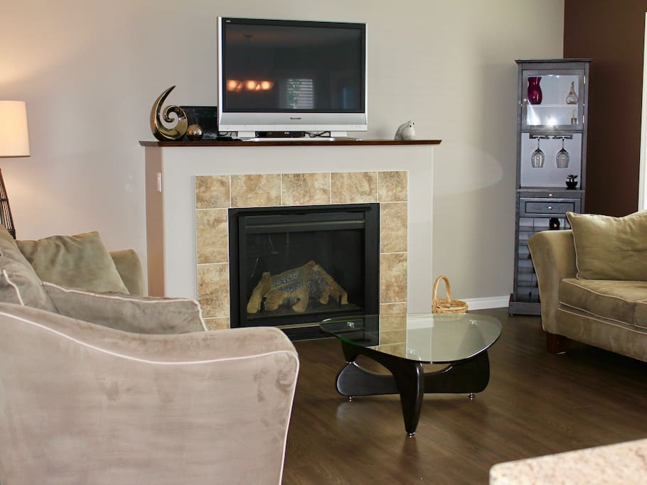 The gas fire place will warm the room on a cool evening!