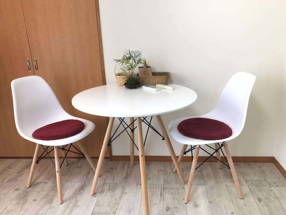Petite table and chairs. Small and cozy, enjoy your tea time!