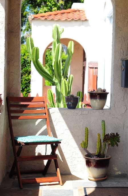 Front Porch with potted succulents  & cactus