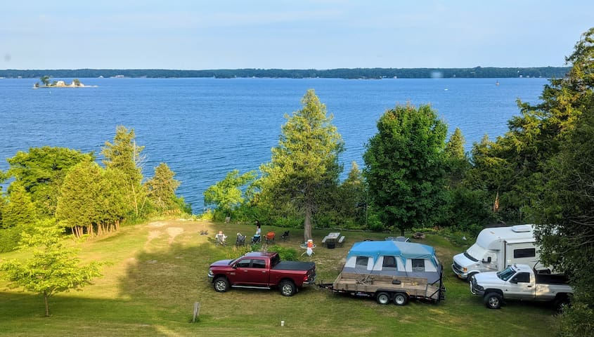 Private St. Lawrence River RV Camp, Dock, Sunsets