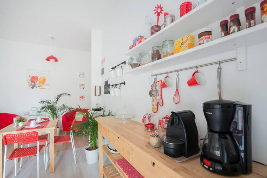 espresso and american coffee in the kitchen