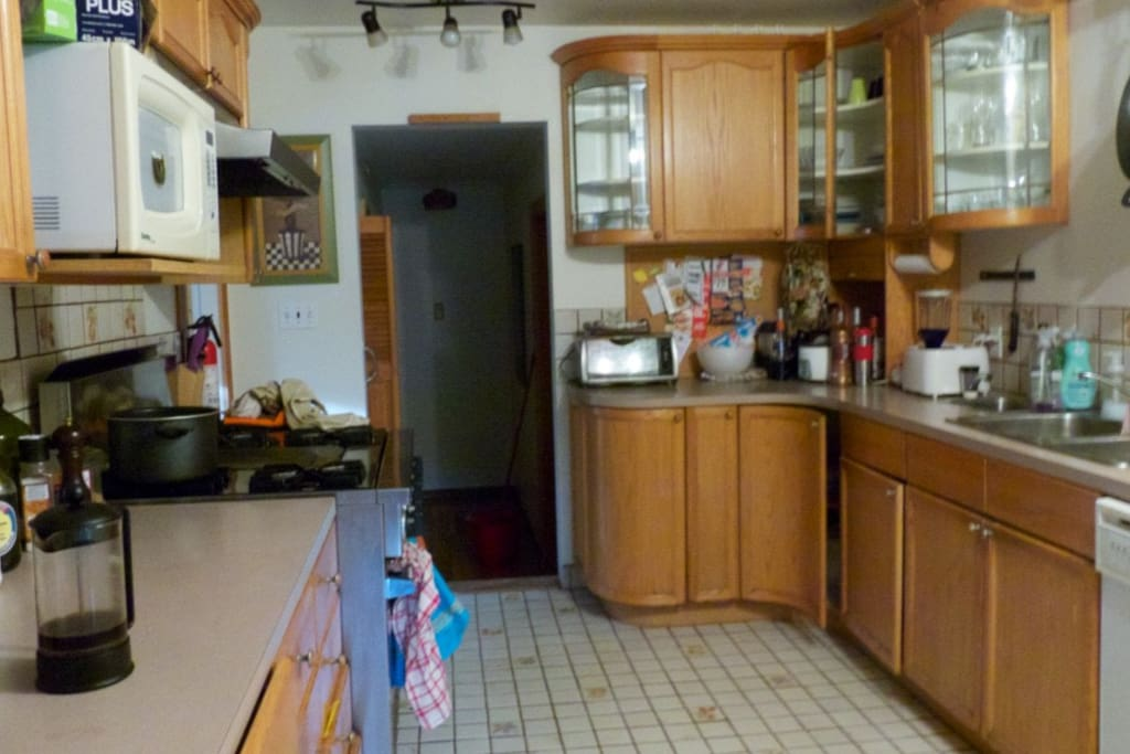 Huge kitchen with propane stove and professional oven
