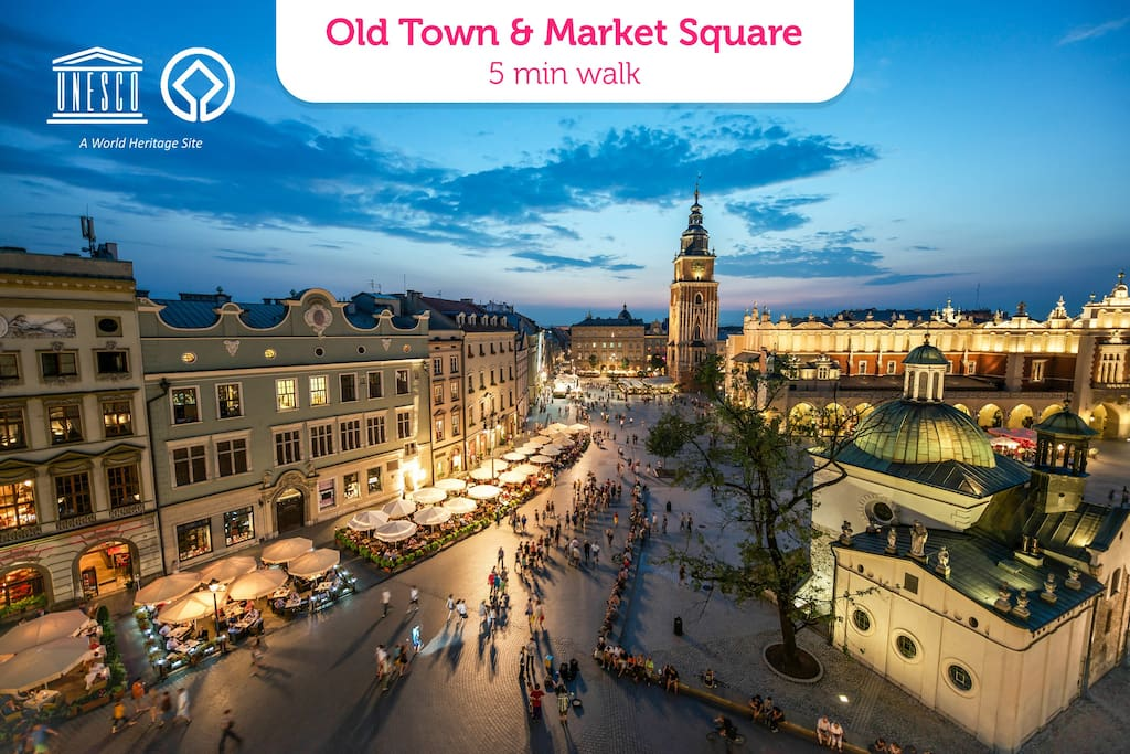 Old Town & Market Square 5 min walk