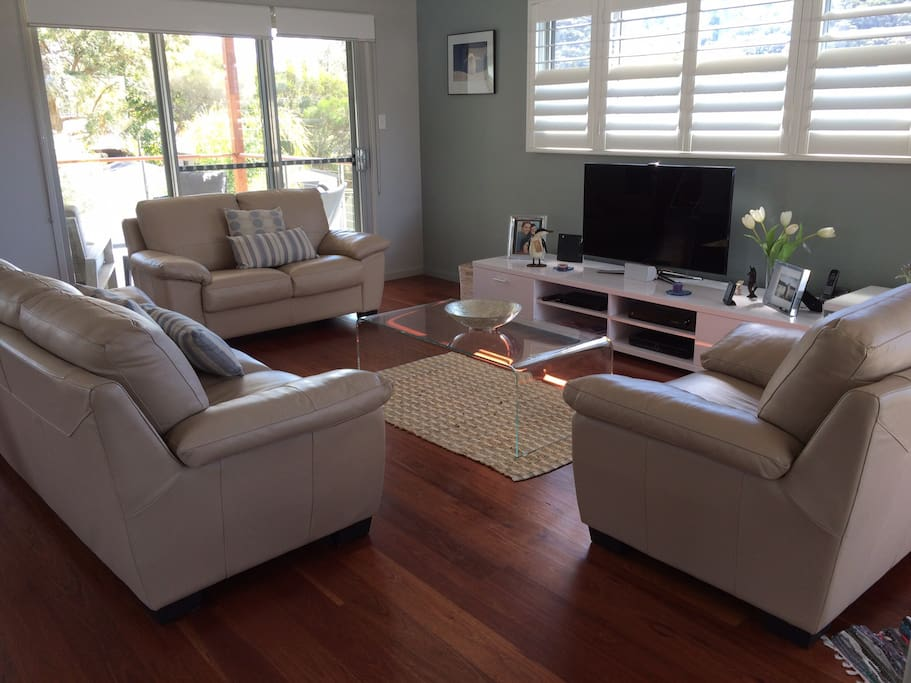 Large, comfy living area with flat screen internet TV.