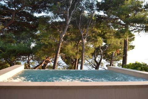 Apartmán 2+2/s bazénem a úžasným výhledem na moře