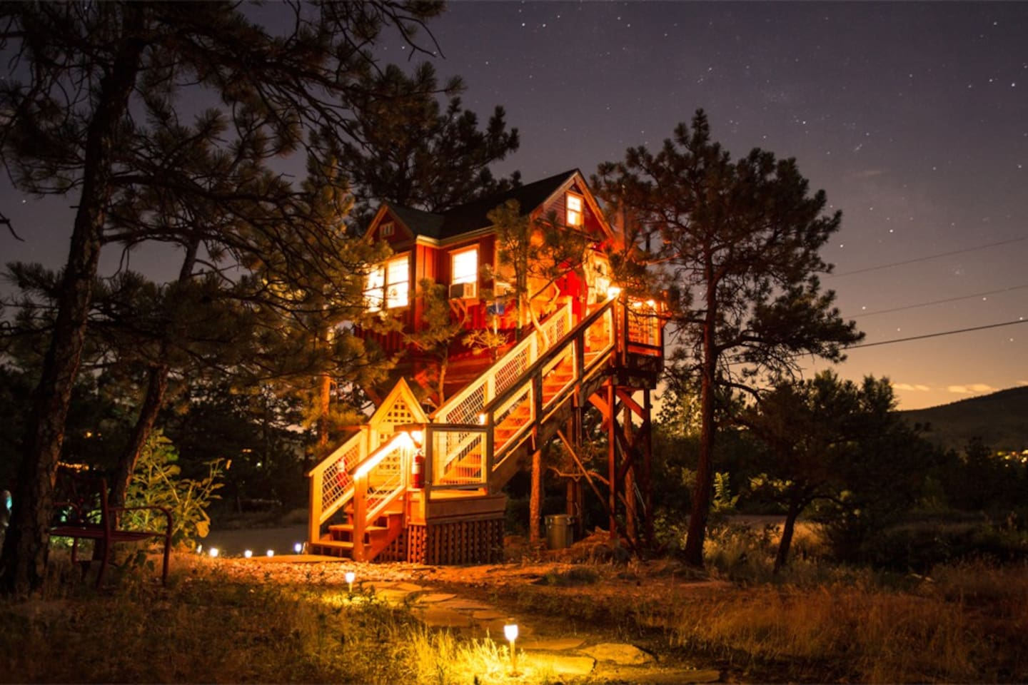 The Treehouse...All lit up...