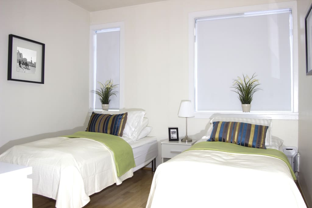 Brand new and comfortable beds that can be moved together or have as two single beds.