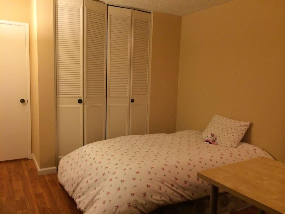 Bed and large clothes closet