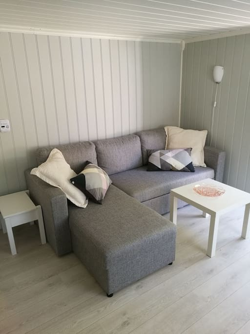 Ny sovasofa med soveplass til to voksne. Helt ny overmadrass New sleepersofa with space for two adults. The over-mattress is completely new.