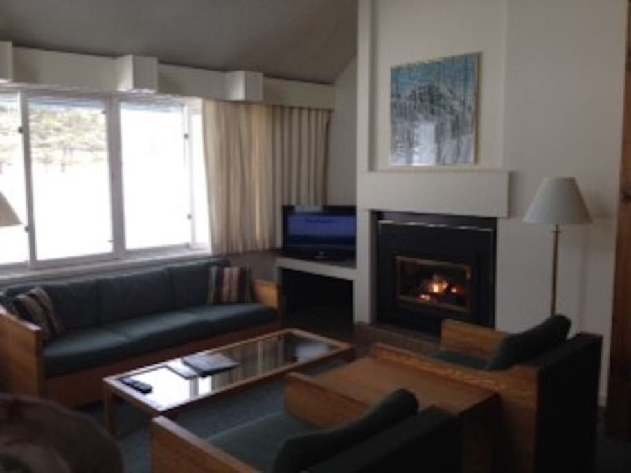 A lovely living room with gas fireplace and flat screen cable tv