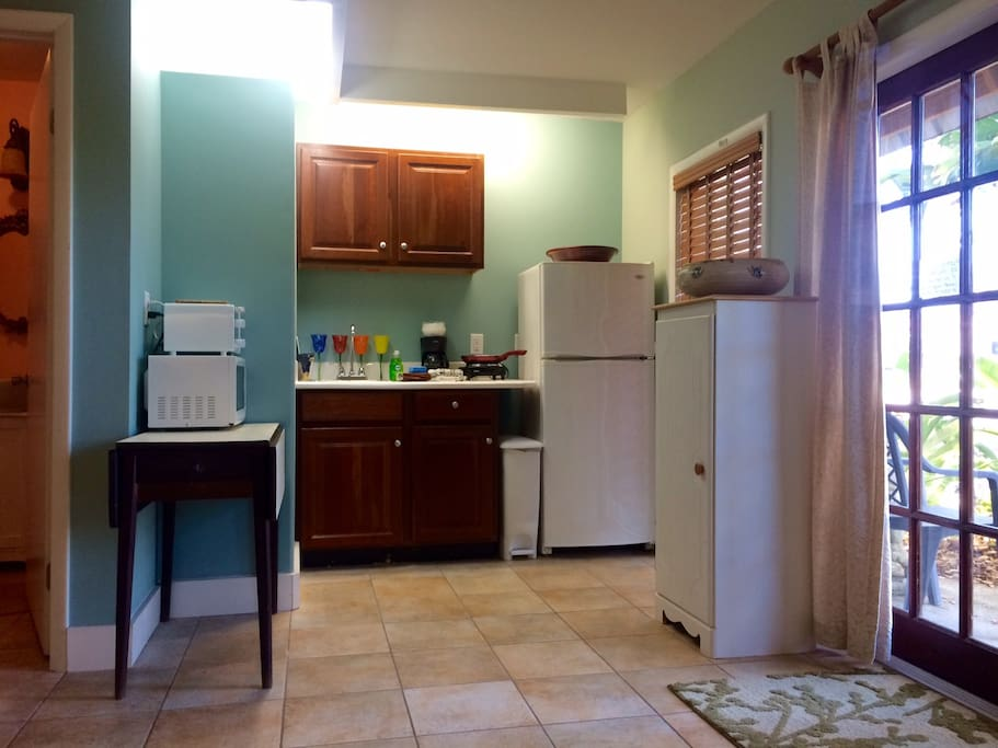 Kitchenette with microwave, toaster oven, coffeemaker and full sized fridge.