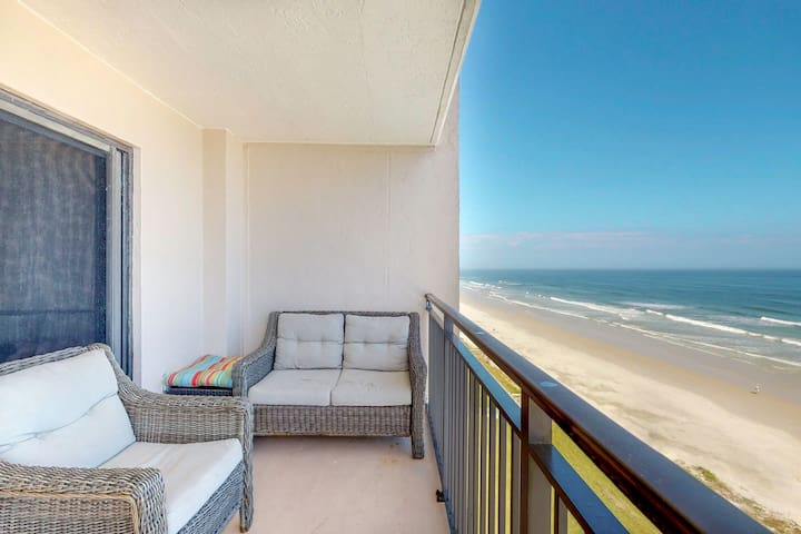 Direct waterfront condo w/ a shared pool, furnished balcony, & amazing views