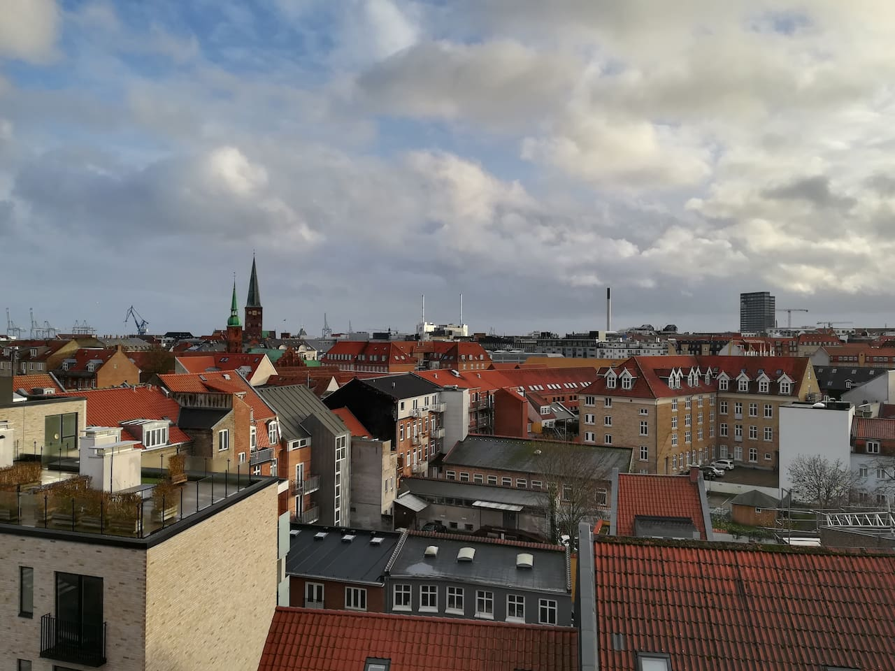 Beautiful view over the red roofs of Aarhus.