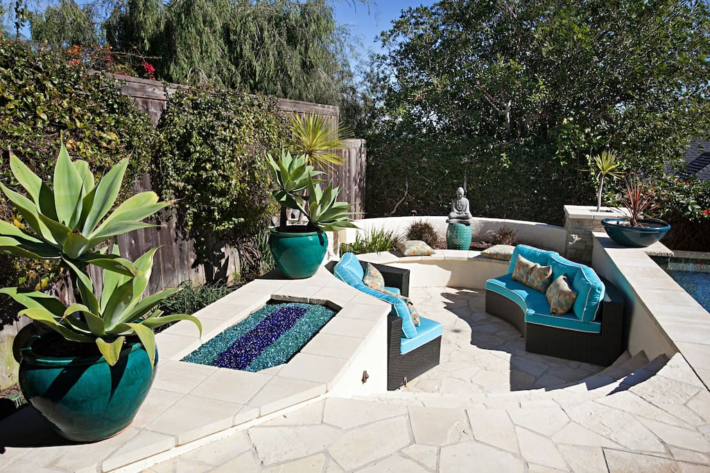 Zen Garden with sitting area and crystal fire pit.