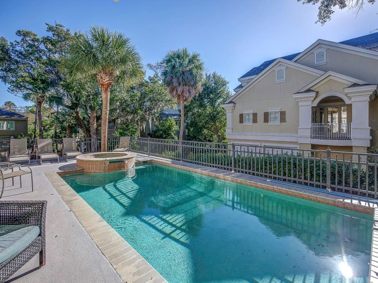 Private pool and hot tub can be heated for an additional cost. Pool is 12x24 & you can see the pool from the living, dining and kitchen of the home.