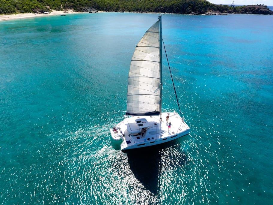 Beautiful yacht under sail