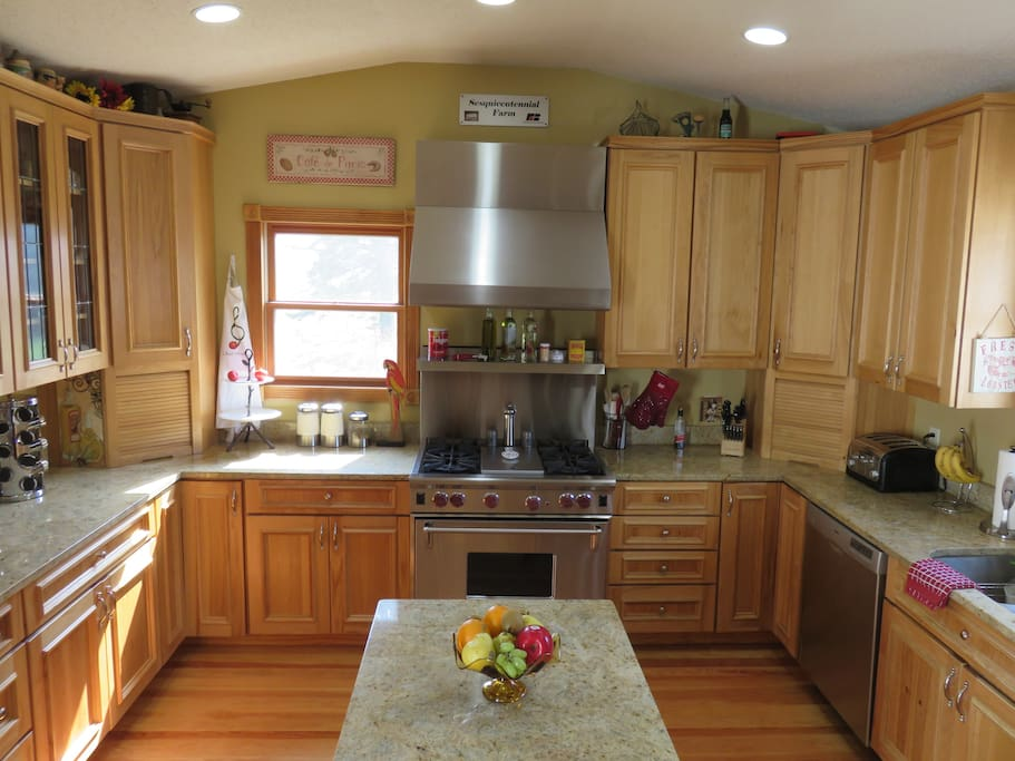 Kitchen with Wolf commercial gas range stove/oven and center island