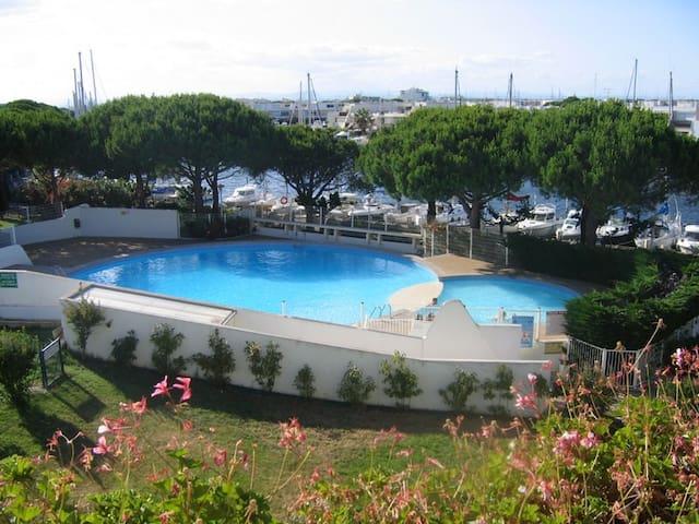 Piscine privée ensoleillée, face au port, réservée aux résidents (petit bassin à 0.64 m et grand bassin jusqu'à 2.15 m). Un bracelet d'accès par personne vous sera fourni le jour de votre arrivée.