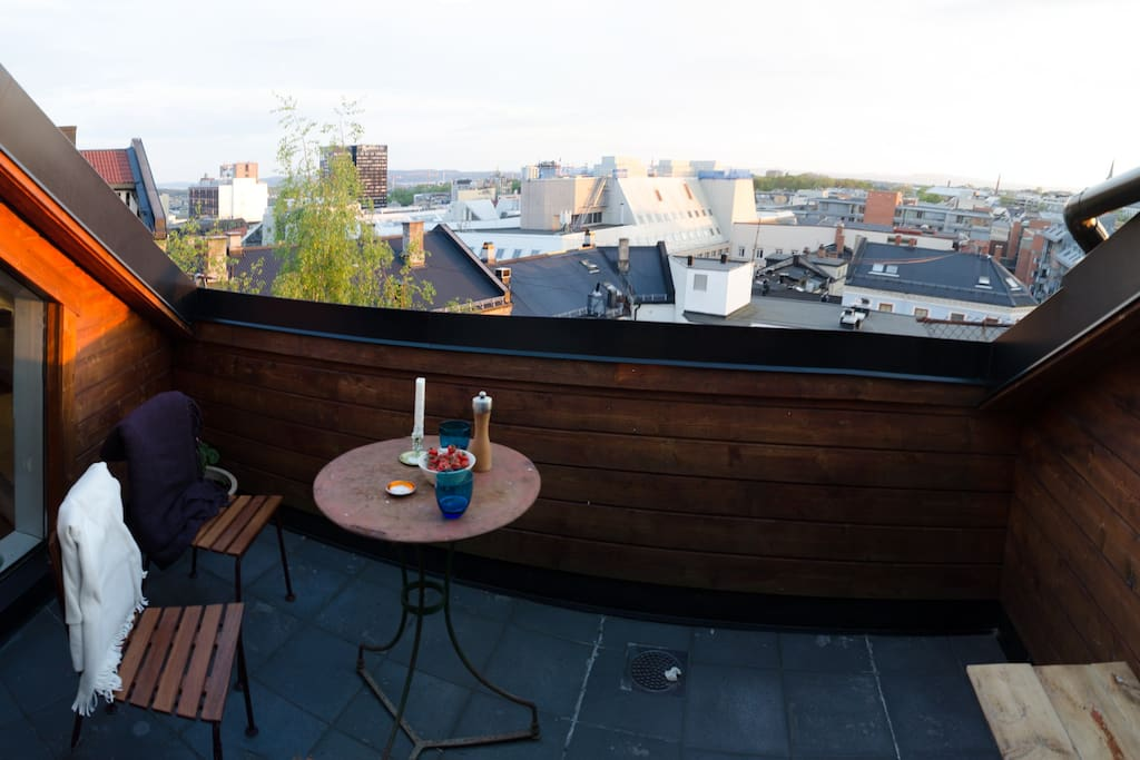 Rooftop terrace with a panorama view and sun view from noon until sunset