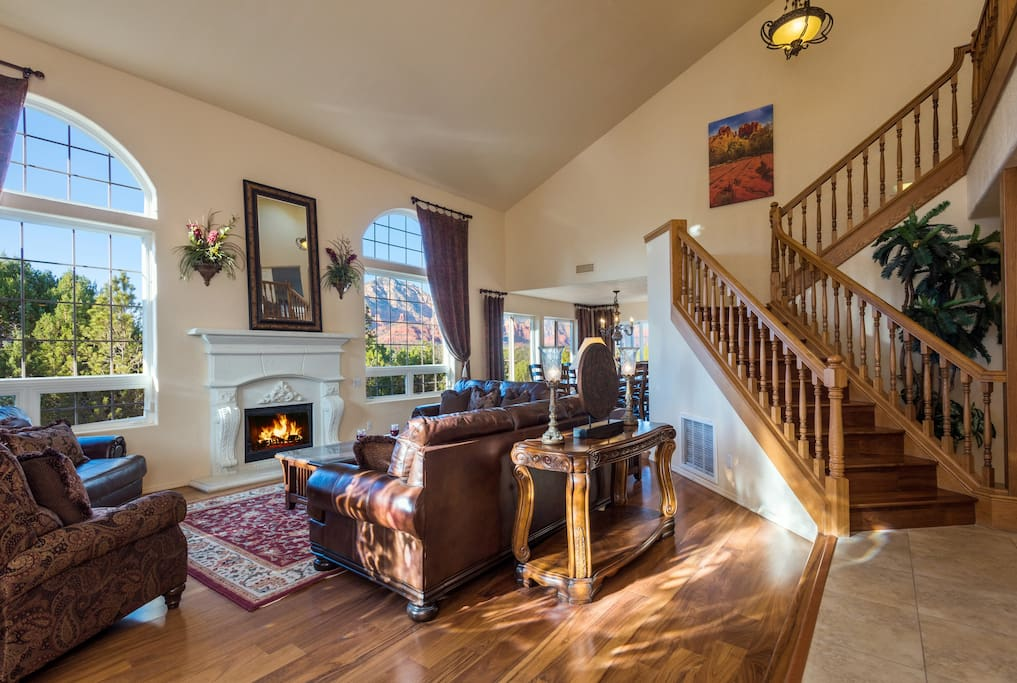 Living Room with views & fireplace