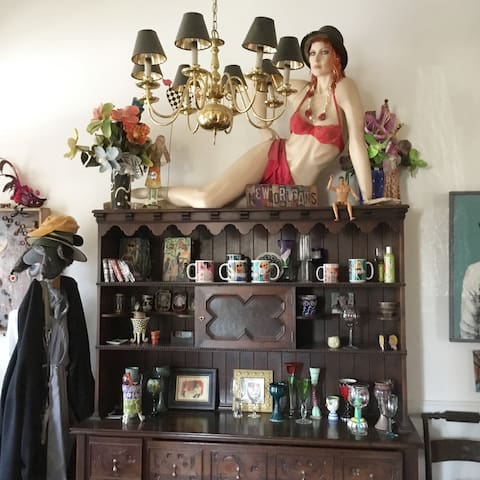 Entrance hall with Veronica, the mannequin to greet you. Every artist's home has a mannequin.