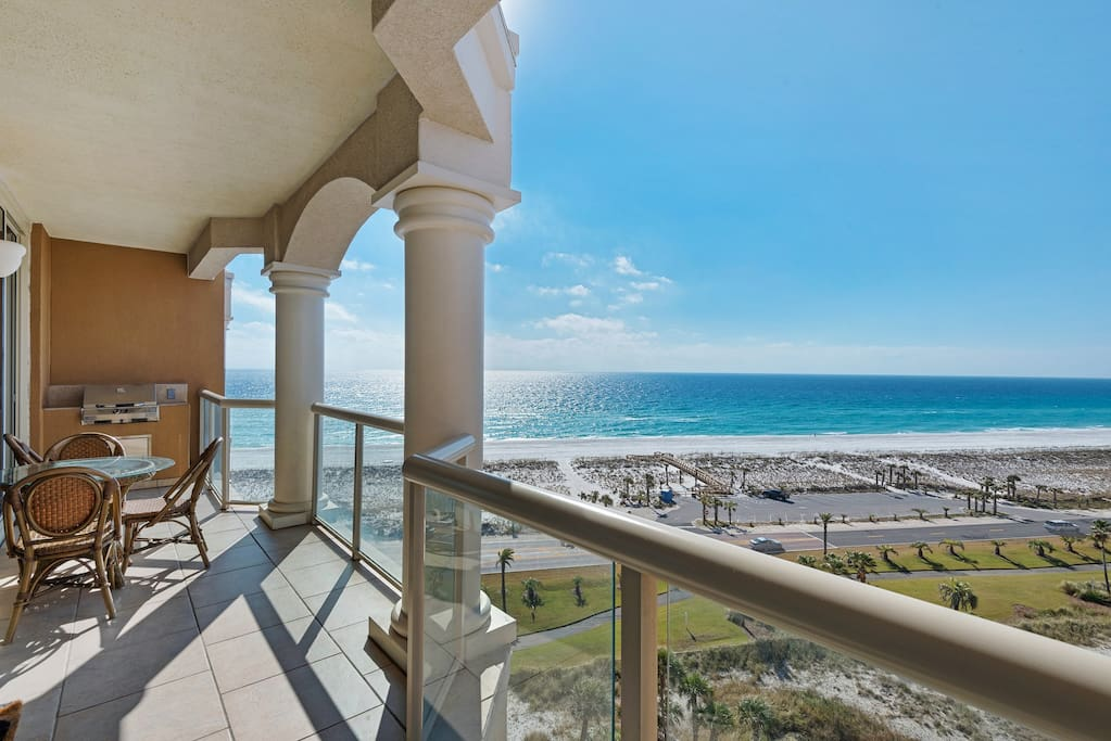 Beach views from the 28 foot long balcony