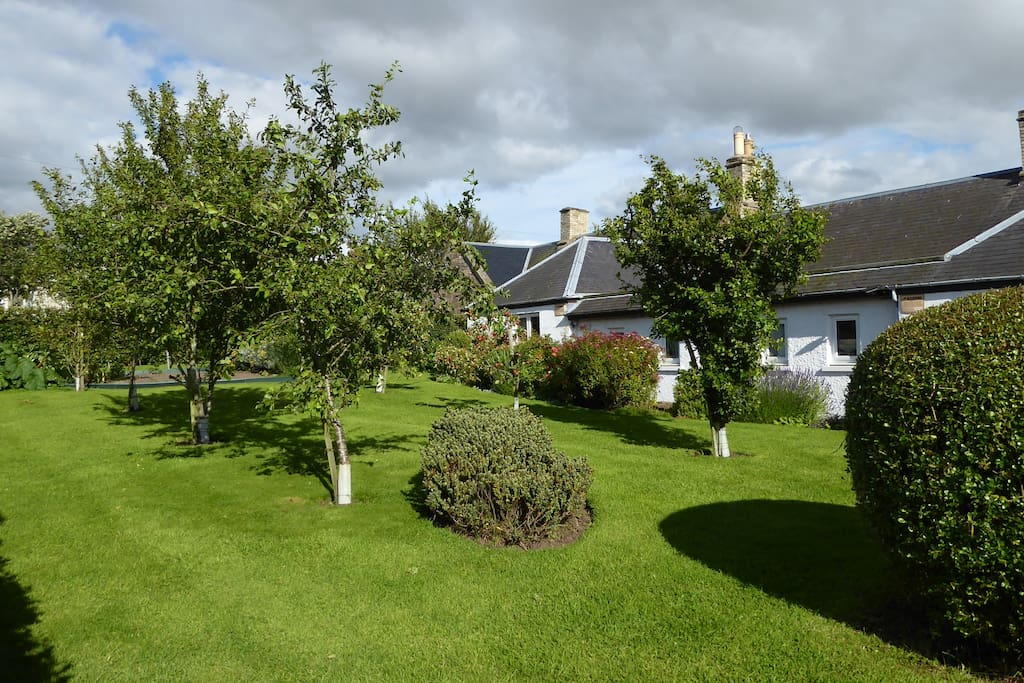 Babingtons Cottage Orchard with lovely views over the Lammermuir Hills