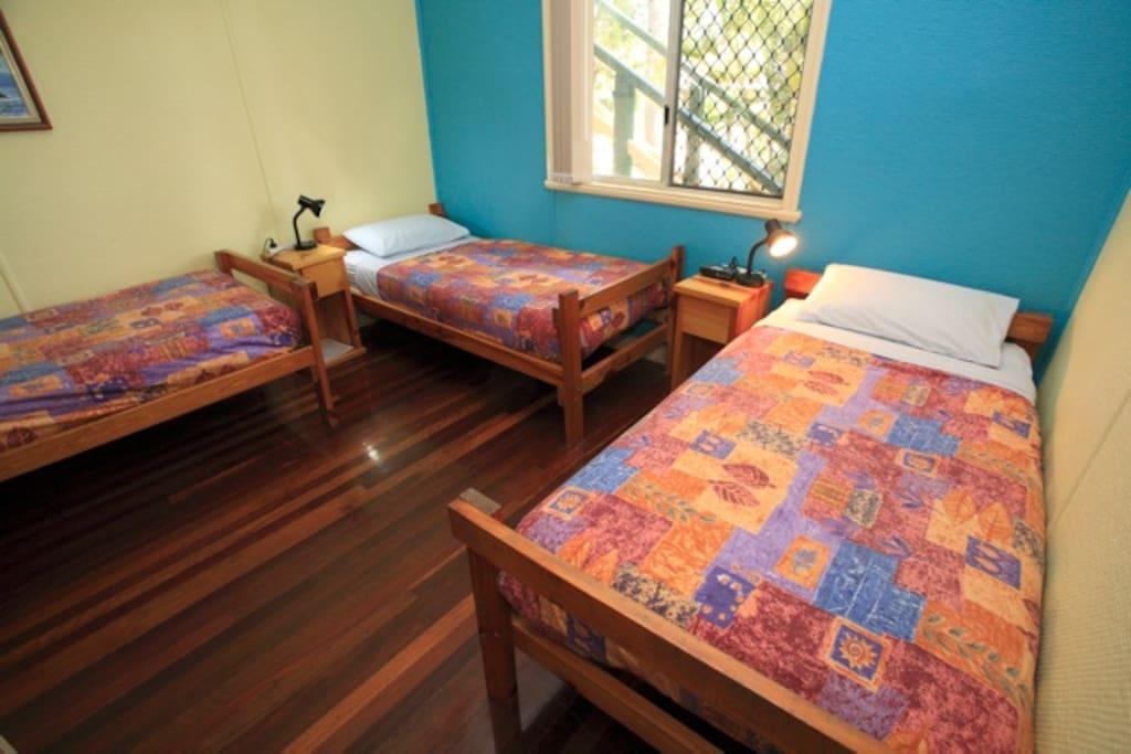 A 3-bed dorm.