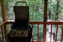 The gas grill is great for outdoor dining. We only ask that you clean it after use.