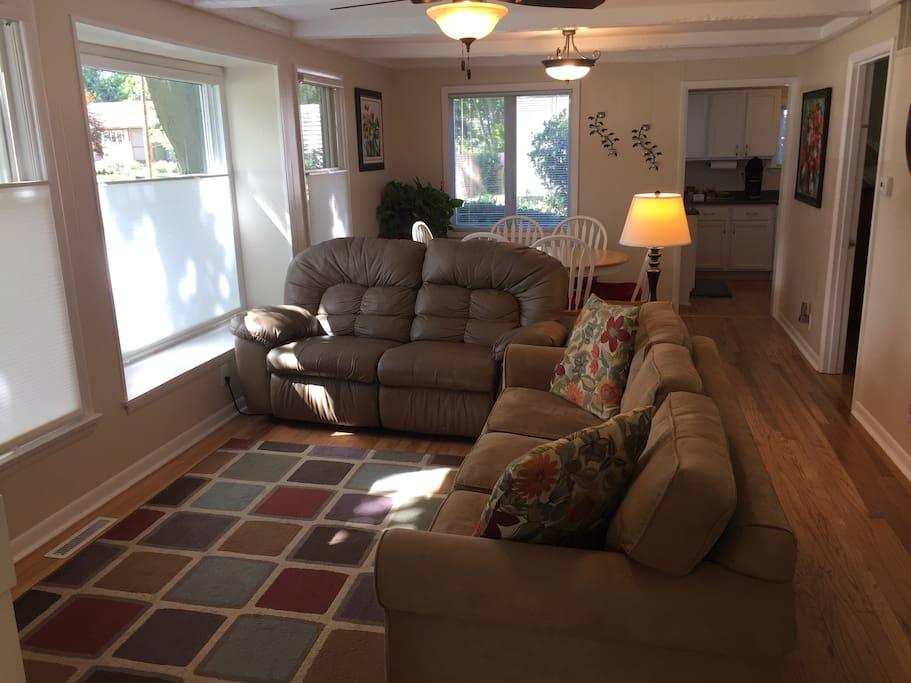 Living area with sofa sleeper and dual recliner