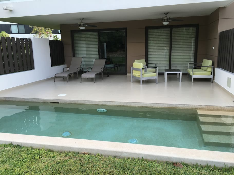 Private Terrace with its own sun beds, pool  to relax and enjoy with family & friends