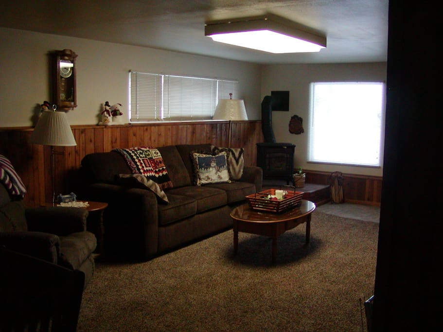 Separate sitting area with queen hide a bed. Gas stove.