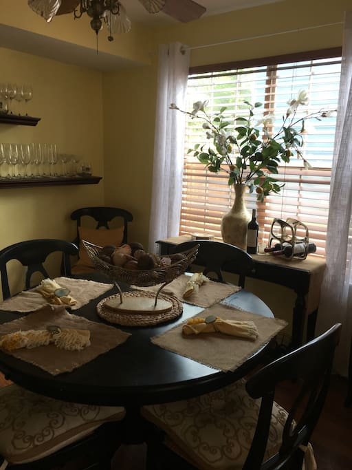 Pretty seating for indoor meals in this quaint Dining Room.