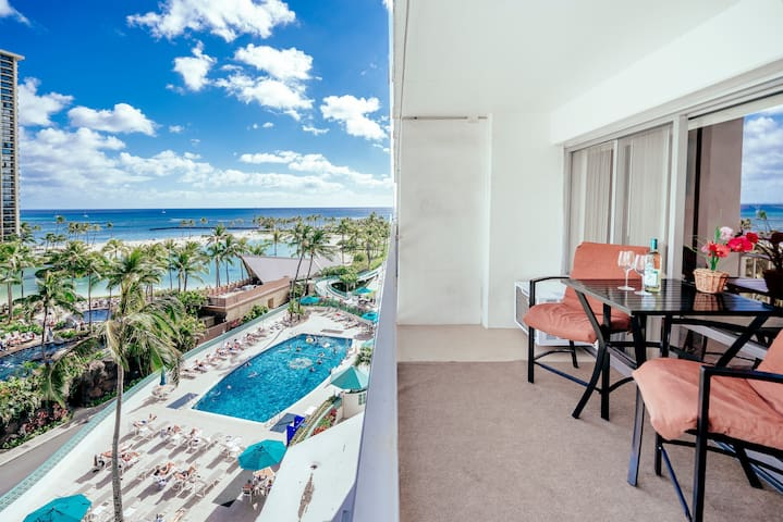 **Professionally Sanitized**Ocean View +Full Kitchen+Amenities At The Ilikai! - Ilikai Hotel Ocean-Lagoon 1 BDR on the 6th Floor
