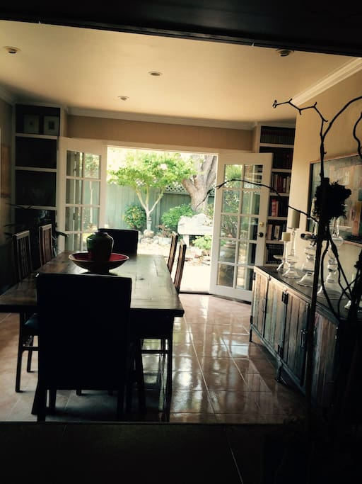 Dining Room with garden doors open