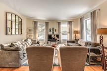 Living Room  Bright and light with 9 foot ceilings and part of this 10 room rental.