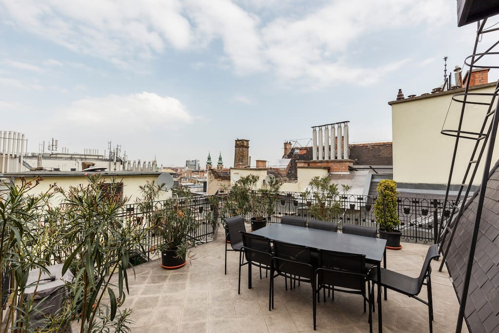 The sunny roof terrace