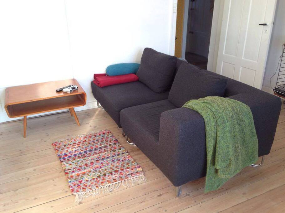 Couch and tv-area.