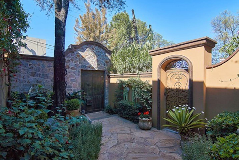 Lush garden entryway