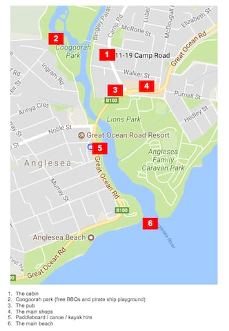 Map of key locations within walking distance of cabin