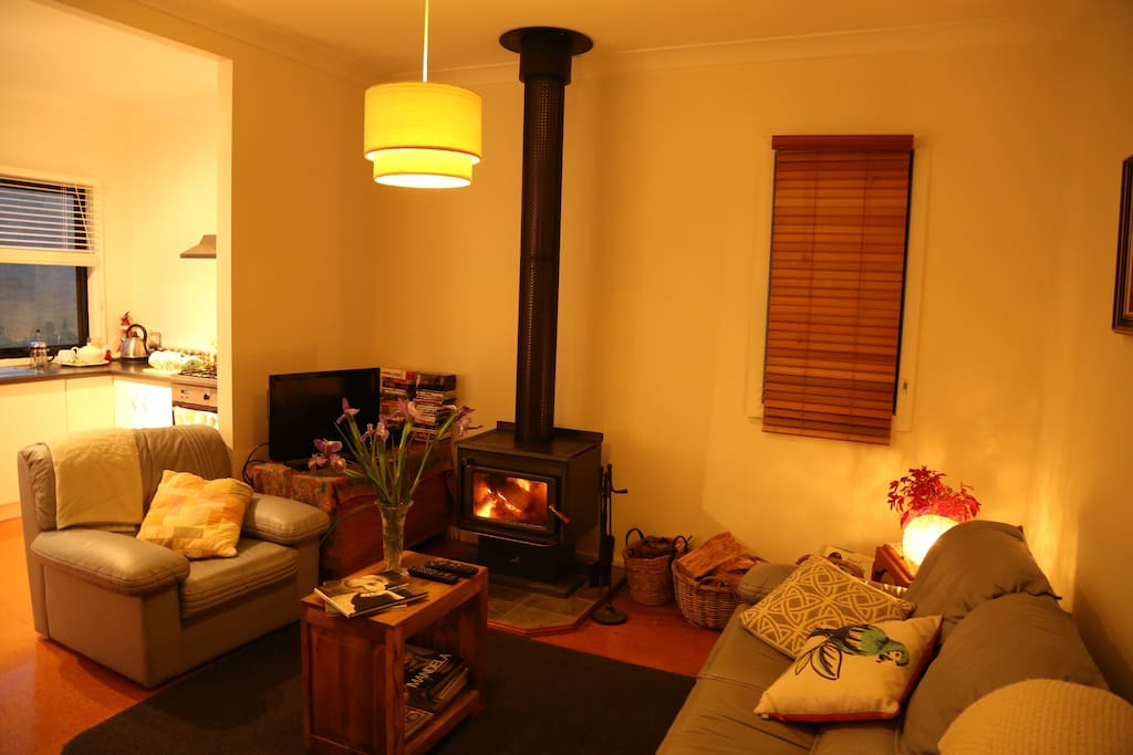 TV, DVDs, wood fire, electric heater and lounge chairs.