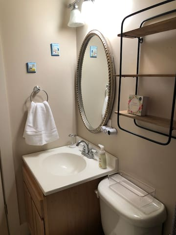 Private full bath with lots of storage