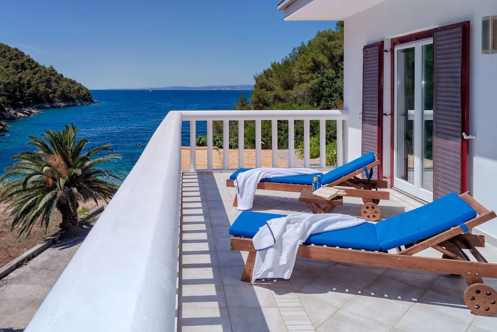 Beautiful balcony the length of the house with uninterrupted views of the sea
