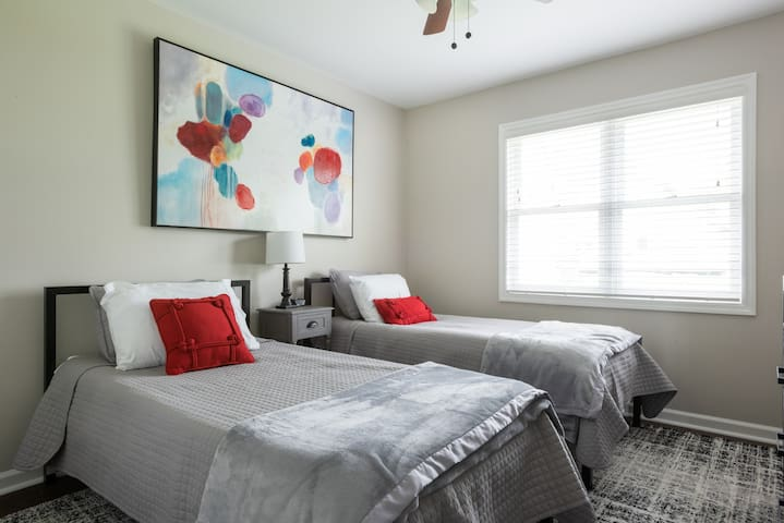 Twin Bedroom Upstairs  - Includes SmarTV with built-in Amazon Firestick for use of your streaming services!  Two gaming systems and a handful of games also available in this room.