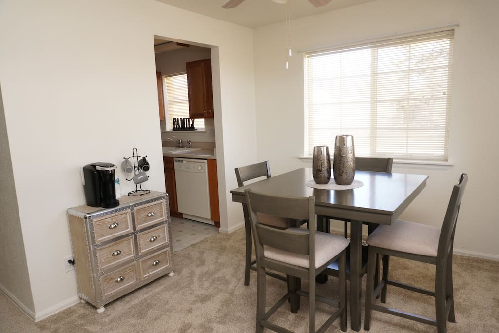 Dining room set for 4 and Keurig station