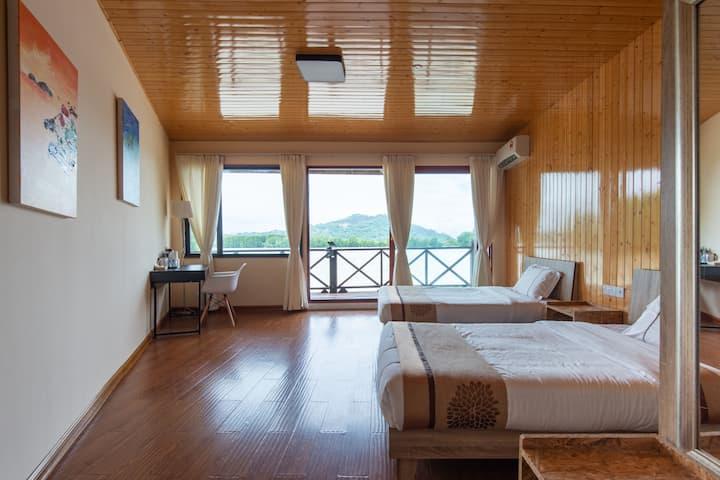 沙巴朋友家水上木屋高级海景双床房含早餐可免费钓鱼