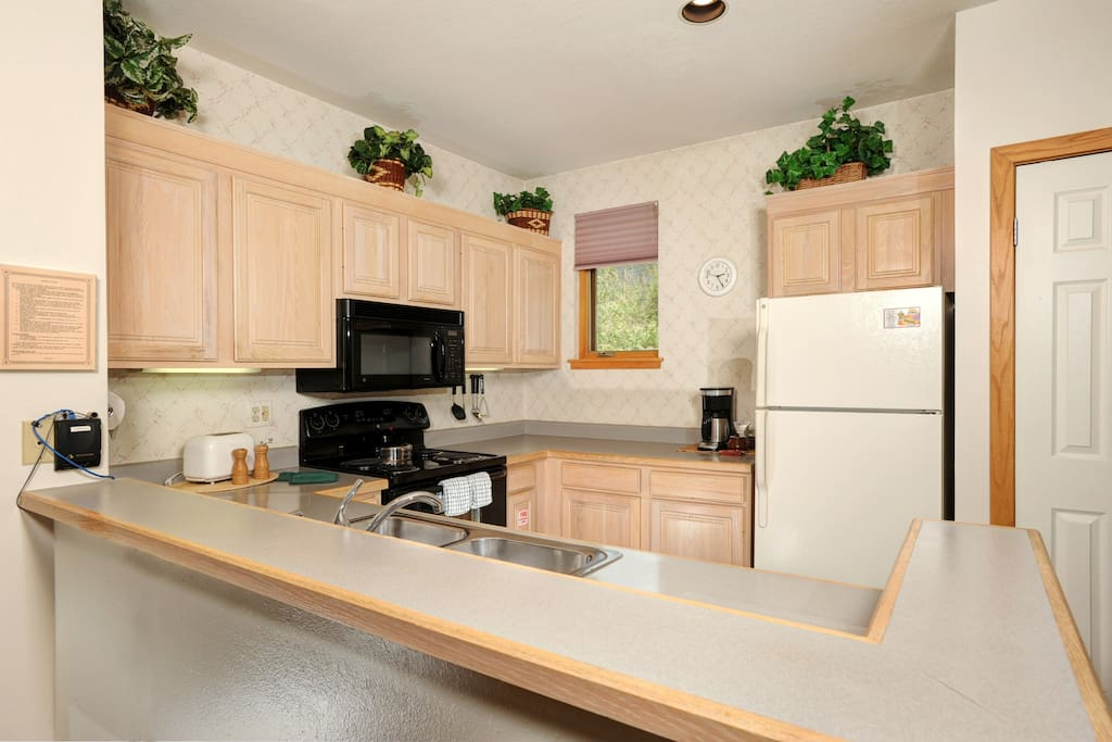 There is everything you need in the fully-equipped kitchen